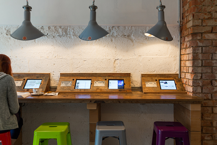 The iPad bar at Claud W. Dennis Coffee; Restaurant and Bar Design Awards 2015;