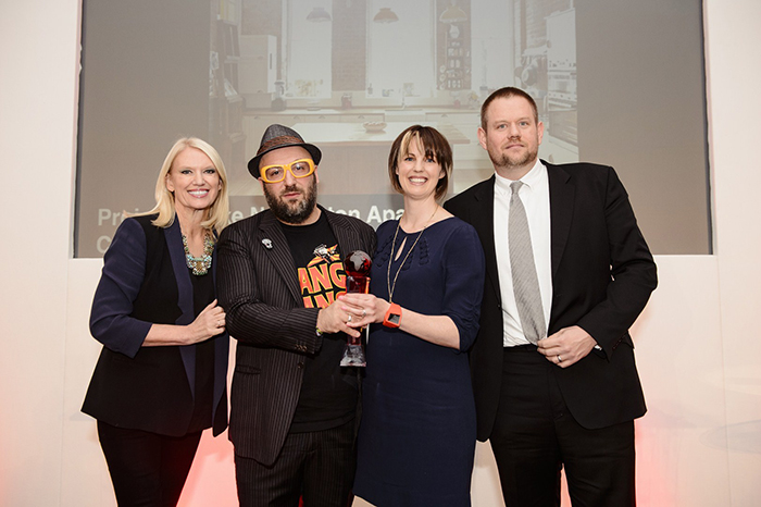 Avocado Sweets receive winning SBID Awards trophy from TV and Radio personality Anneka Rice