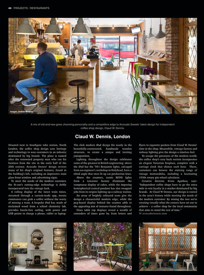 Coffee shop design; Hospitality Interiors; Claud W. Dennis;