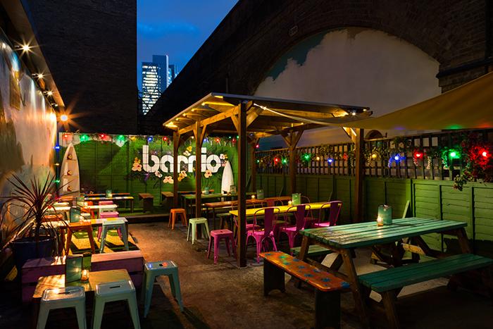 vibrant; colourful; bar; garden; design; Barrio East;