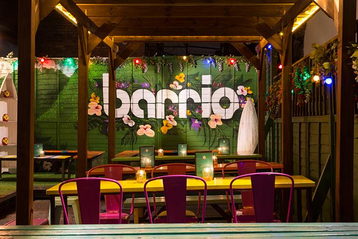 vibrant; colourful; bar; garden; design; Barrio East