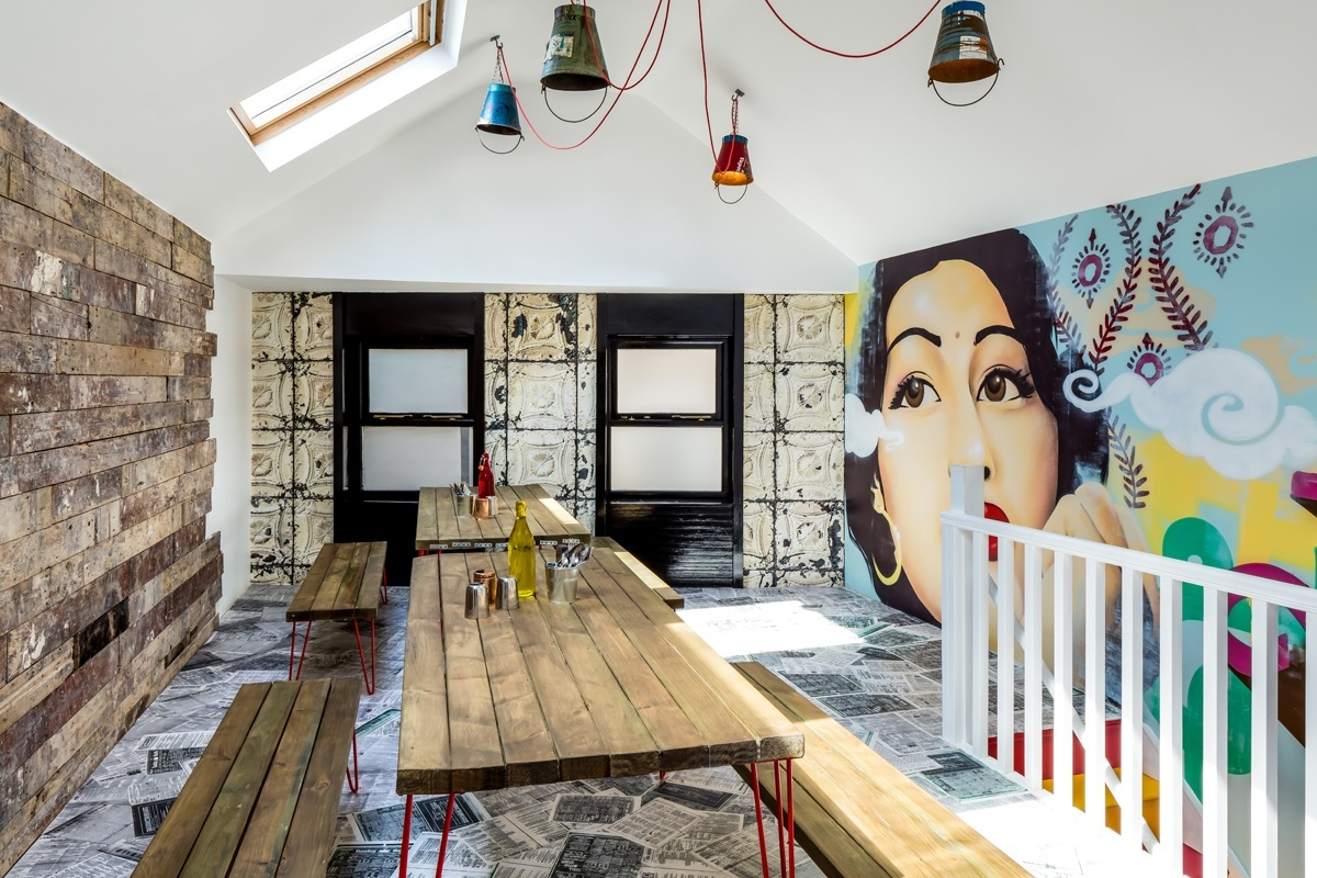 The upstairs dining room:texture, colour, art and innovation.