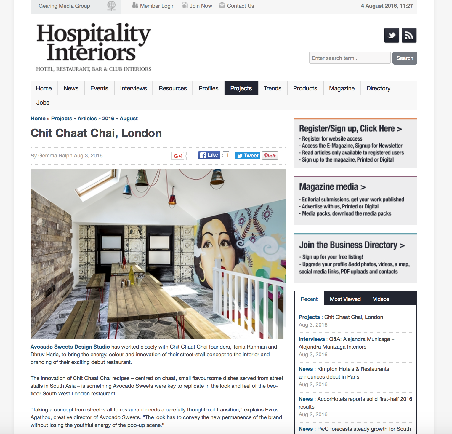 Hospitality Interiors feature on the Chit Chaat Chai design by Avocado Sweets.