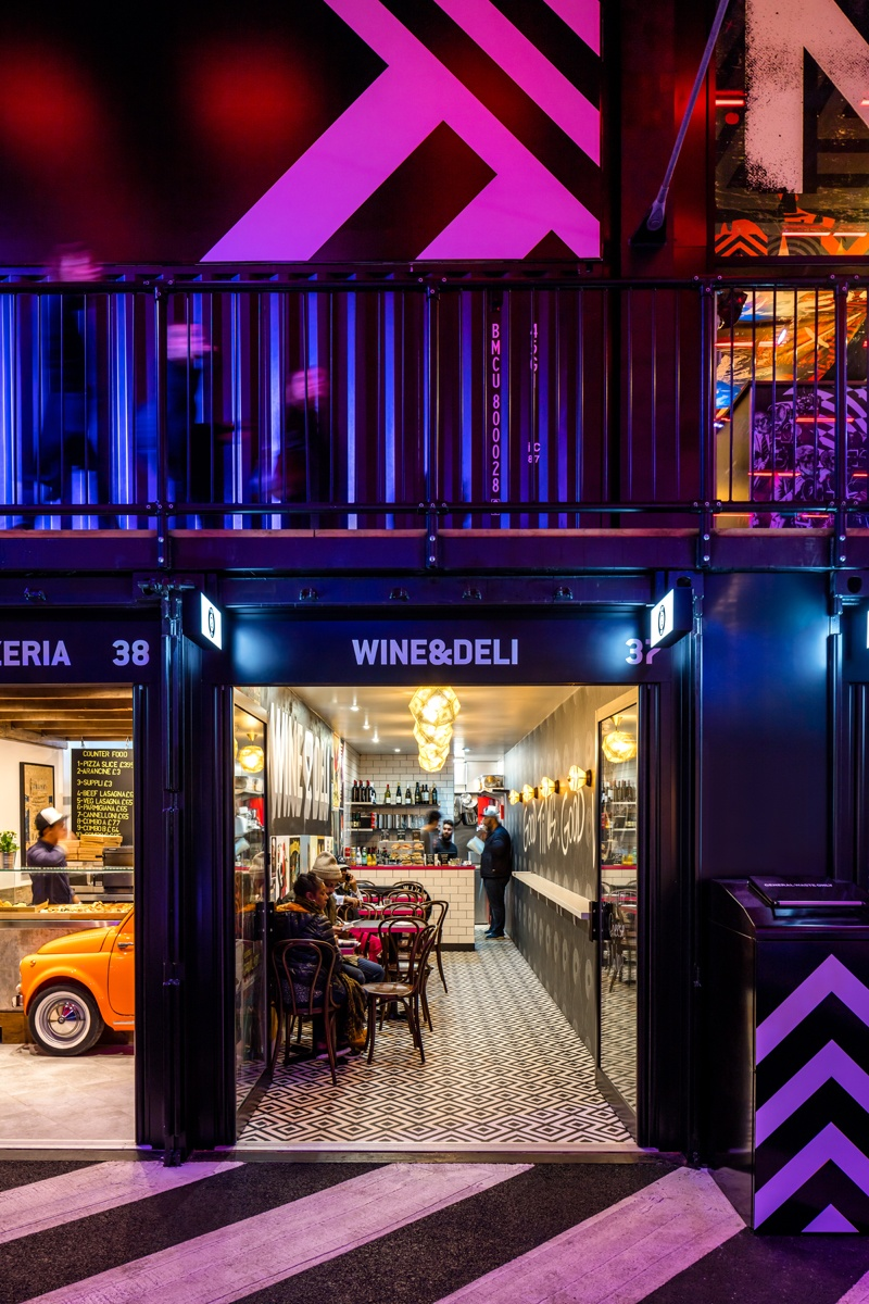 One of 33 new food and drink sites in BoxPark Croydon, Wine & Deli's Urban Deco design helps this independent stand out and attract customers.