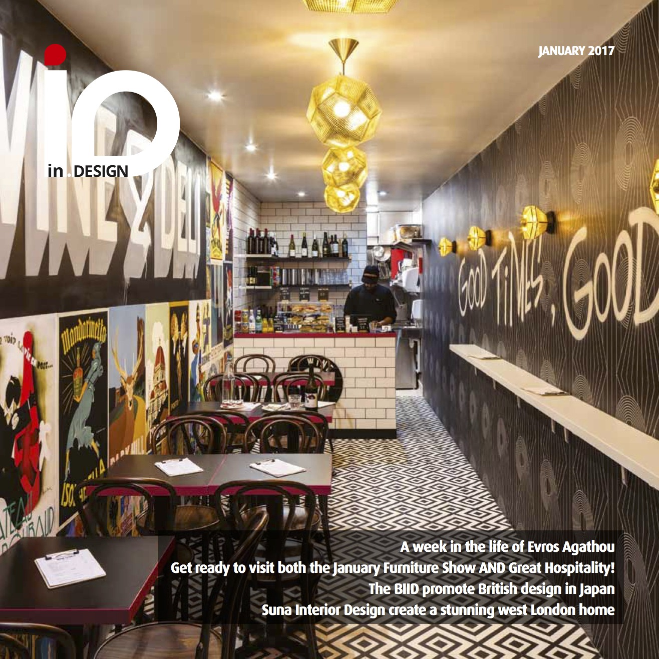 In.Design front cover featuring our Wine&Deli design, January 2017