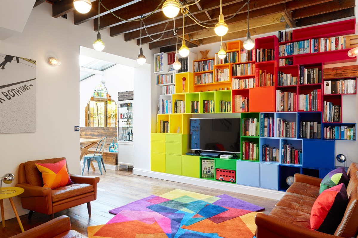 The colourful feature wall with Sonya Winner rug and cushions.