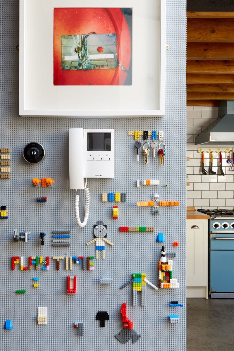 The playful lego wall proved a hit with the presenters.