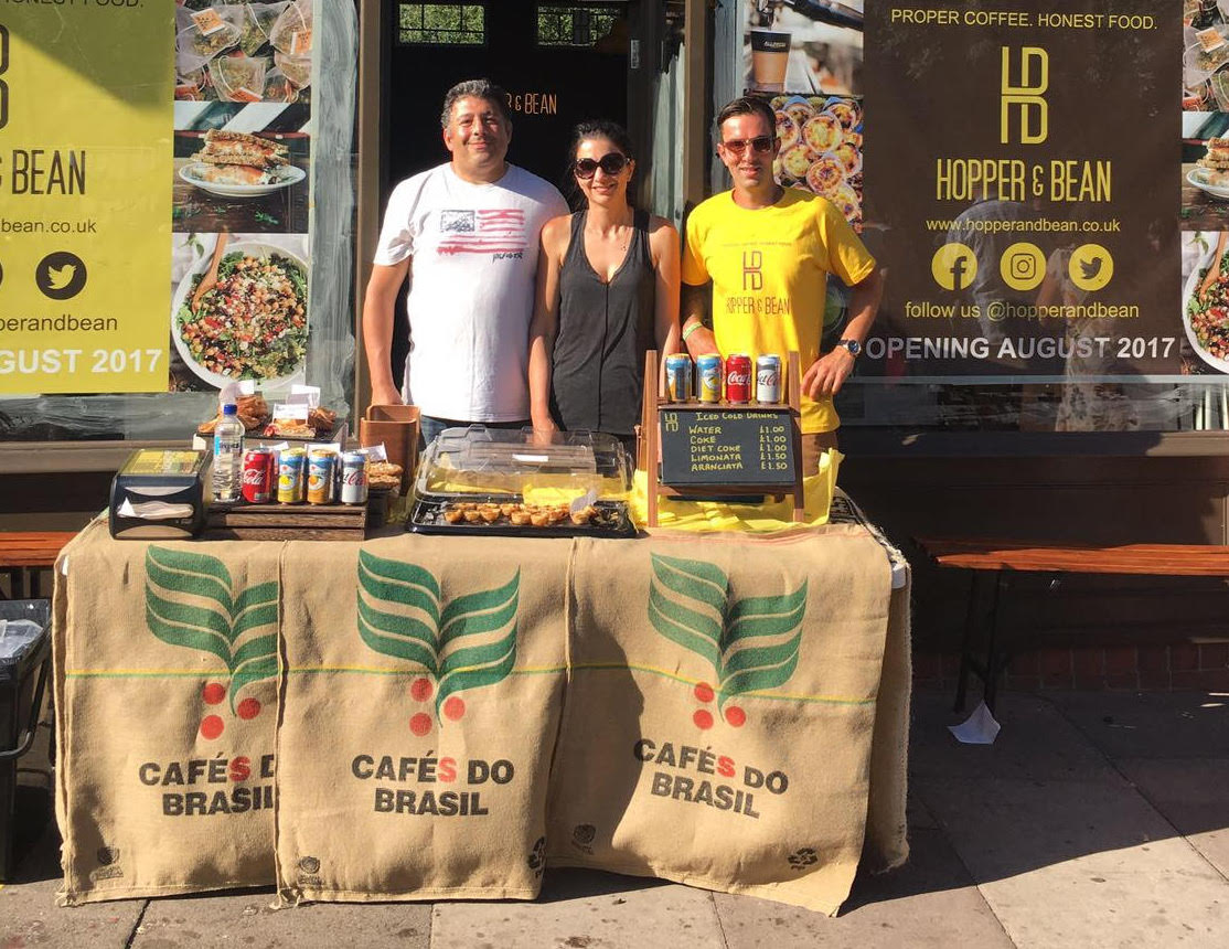 Hopper & Bean Founders (from L-R) Hasan Hassan, Filiz Hassan, Cet Izzet at last summer's N21 festival giving a sneak peak of the food and drink before opening in August 2017.