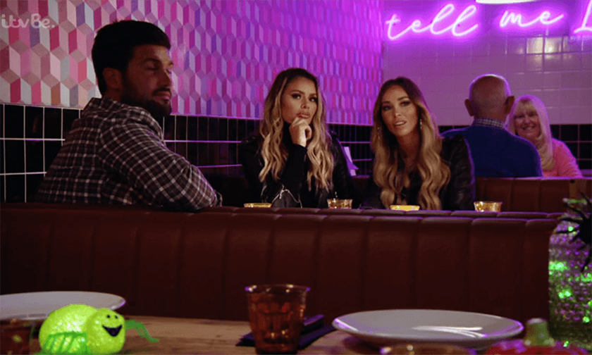 Moto's booth seating provided the perfect hide-out for the TOWIE friends.