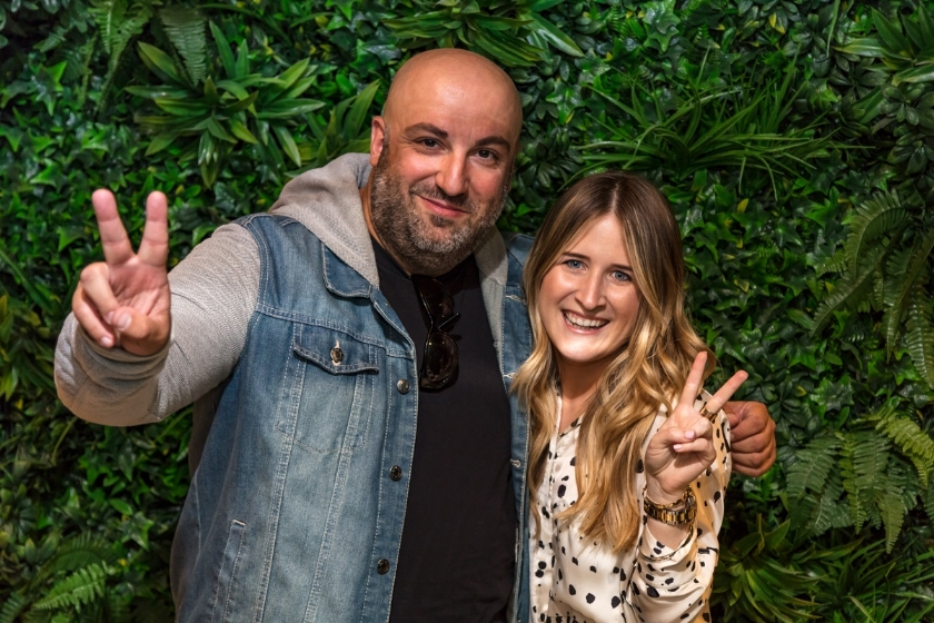 Avocado Sweets Creative Director, Evros Agathou and Moto co-owner Georgie Collins celebrate the restaurant opening.