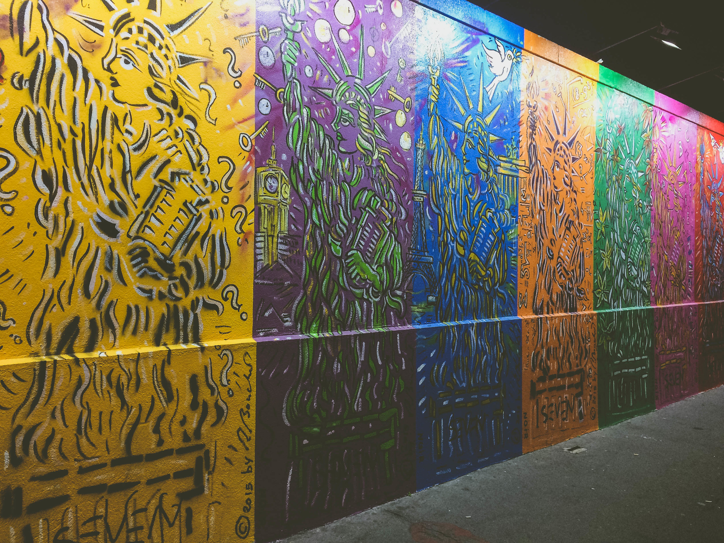 Nuit Blanche 2015: Statue of Liberty in many colorful panels.