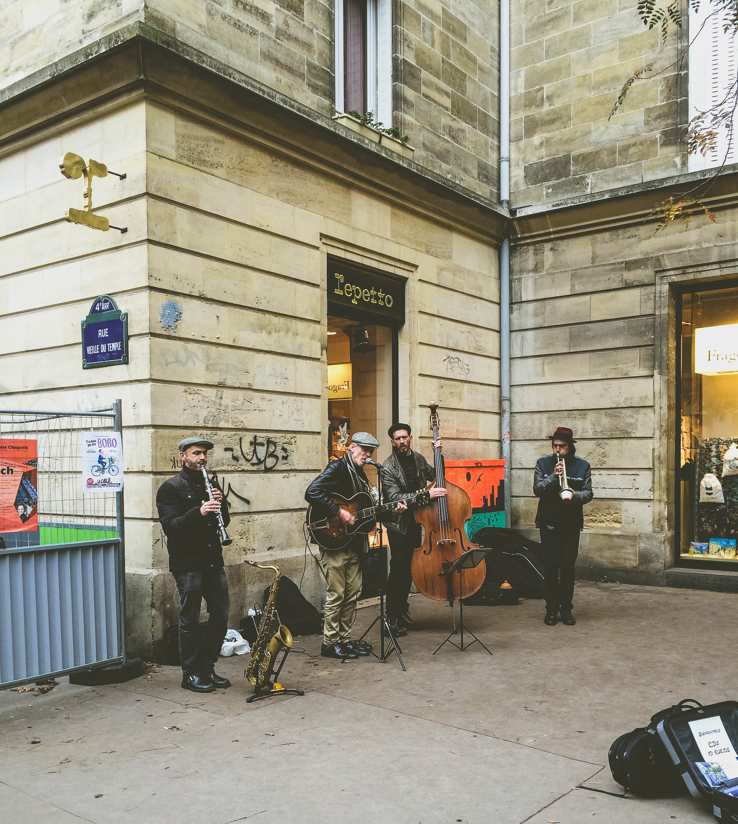 A band from North Carolina playing on the streets of Paris