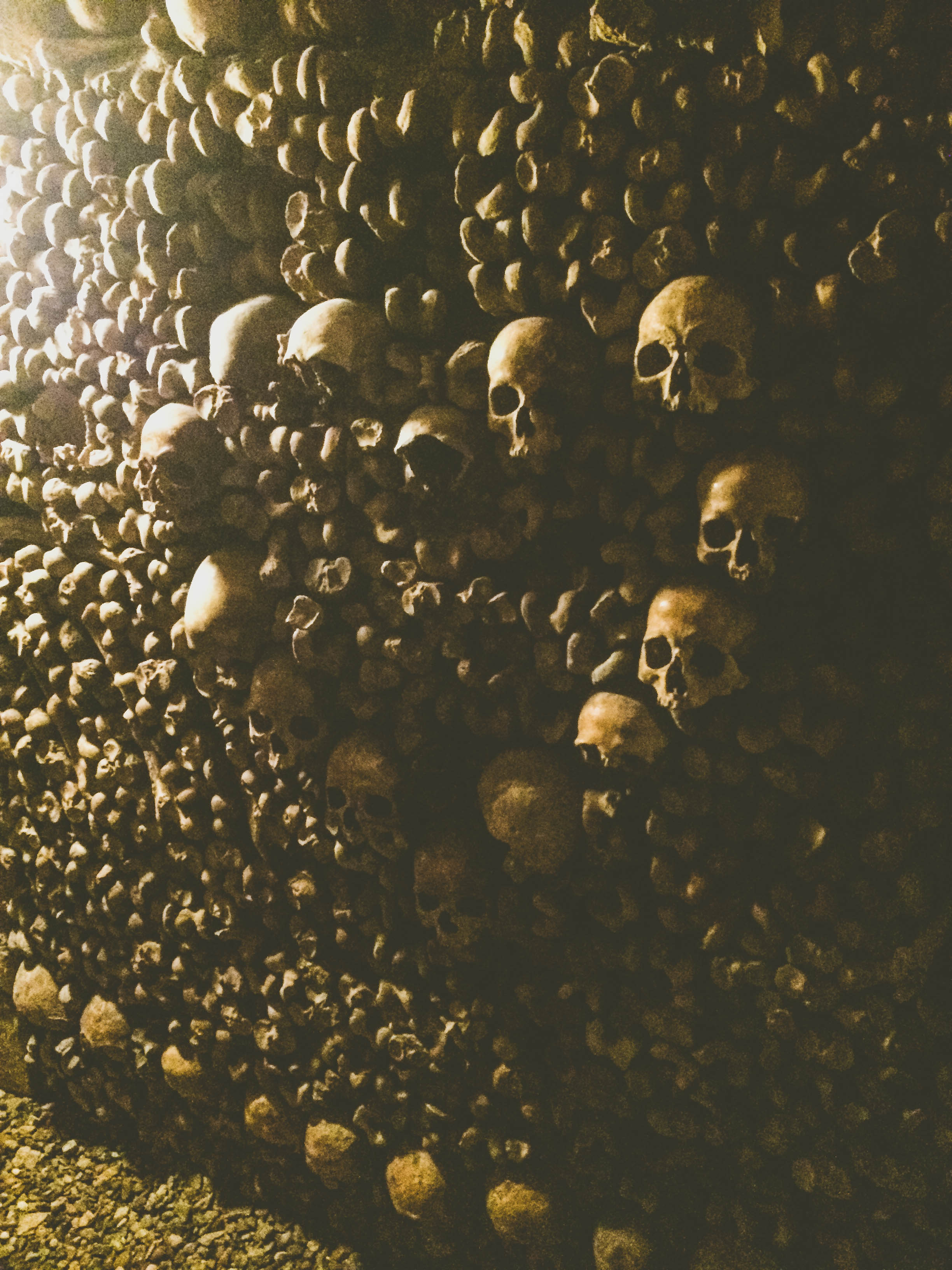 A heart of skulls in the Catacombs