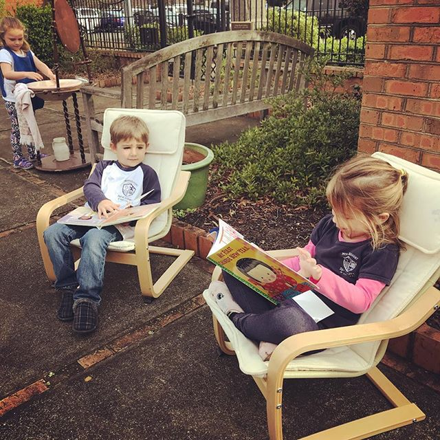 Our Early Childhood class enjoyed this beautiful day in the memory garden. #montessorischool #practicallifeskills #montessorikids #beautifulday #ourkidsarethebest #hartsvillesc