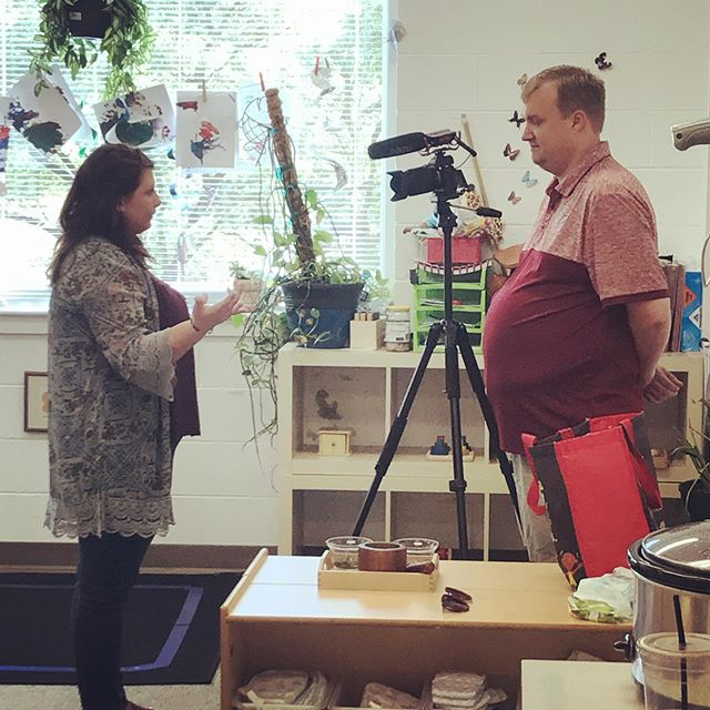 Our Toddler Room Lead Guide, Chace Buterbaugh, talking about her classroom  for our upcoming informational video. Filmed by Brad Teal of @something2rememberweddings #montessorischool #montessoritoddler #ourschoolrocks #weteachthewholechild #preschool #hartsvillesc