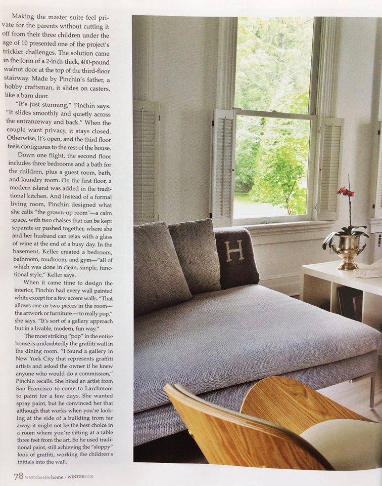 Westchester Home Magazine Winter 2016 , Pinchin House,  Page 78