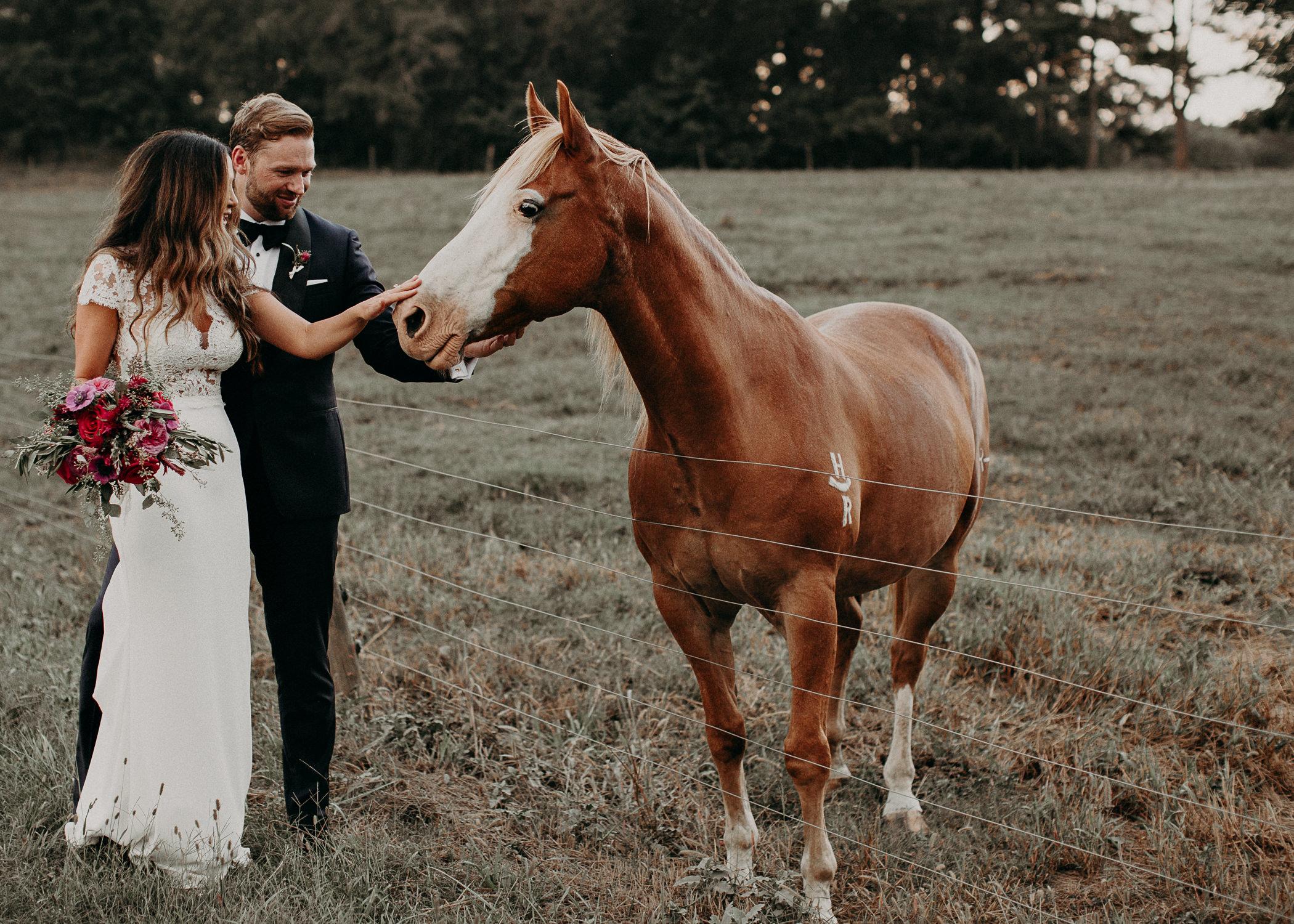 95 - Bride and groom portraits with horse in wedding serenbi farms atlanta .jpg