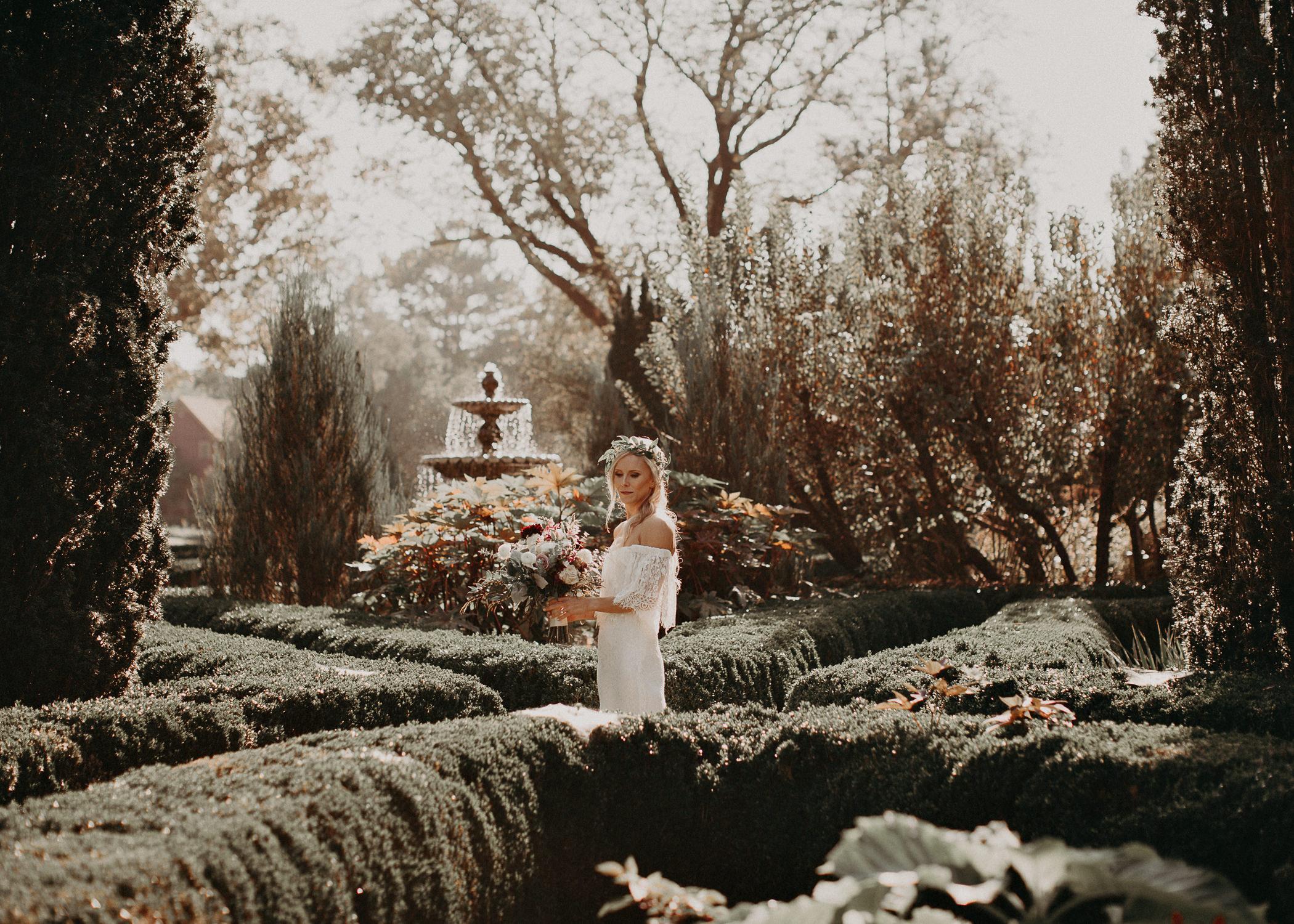 14 - Barnsley Gardens Wedding - Bride portraits - First Look .jpg