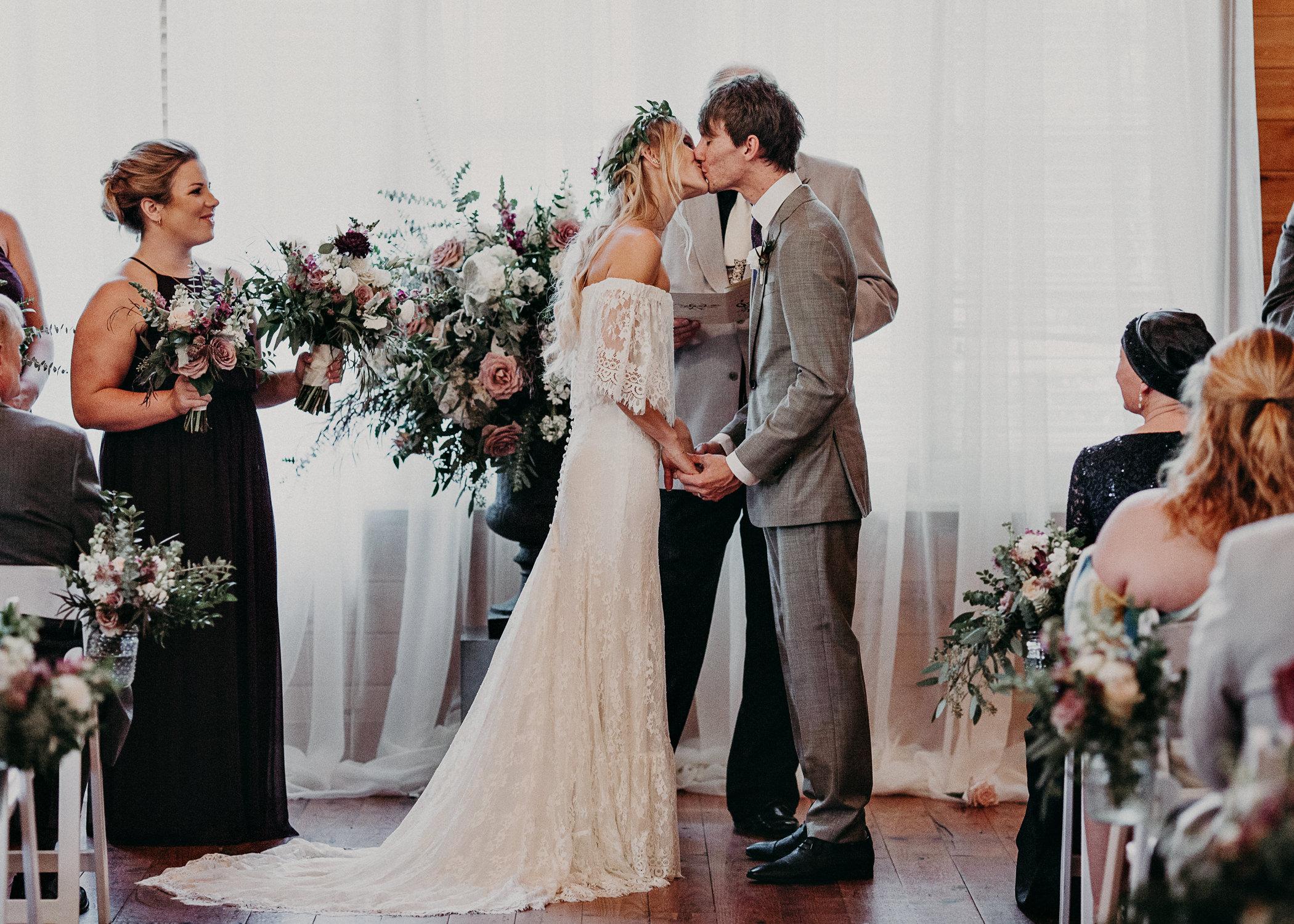 74 - Barnsley Gardens Wedding Ceremony Chapel : First Kiss - Atlanta wedding photographer .jpg