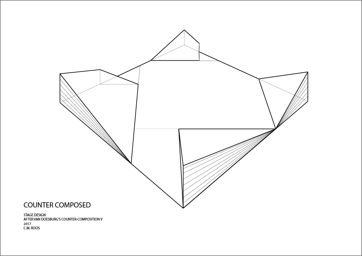 C.M. Roos. Stage design for  Counter Composed  (2017). Vector graphics drawing.