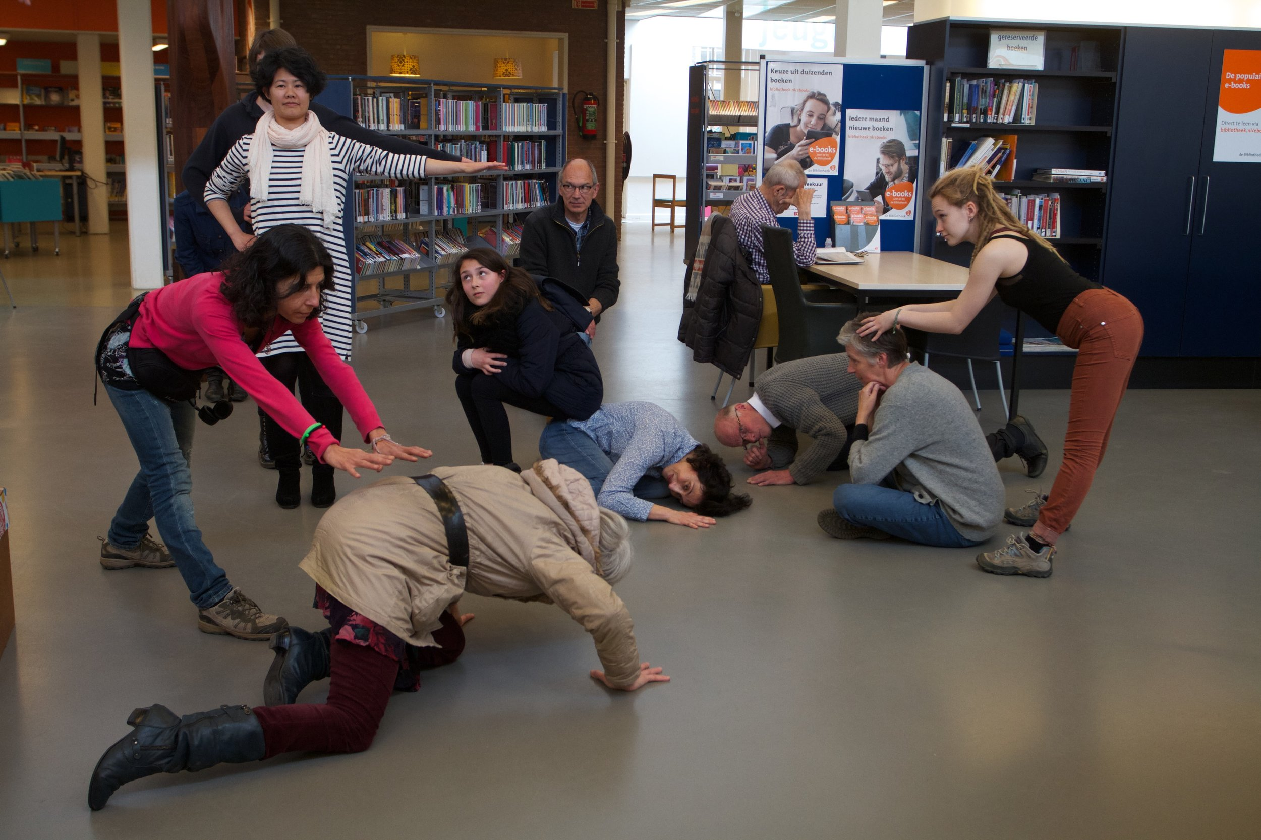 From  Dancing in the Library  (2016), an earlier dance project by Michailidou and Heller which, as  Belonging  (forthcoming), focuses on social engagement and participation.