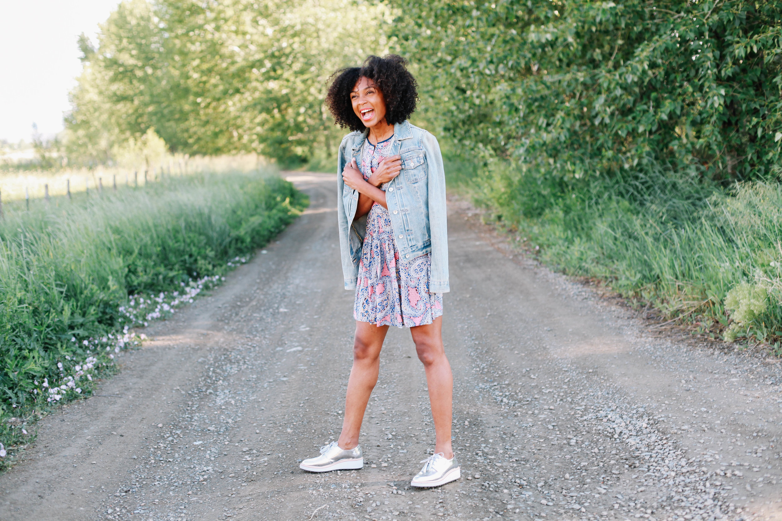 denim jacket: Thomas vintage   Dress: JCrew   Shoes: Loeffler Randall