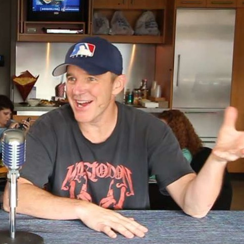 How rad is @clarkgregg rocking our hat and a Mastodon shirt on MLB TV!!?? This totally made our day. #graphiclabtees #agentsofshield #coulson #baseballhat #goodtaste #clarkgregg #baseball⚾️