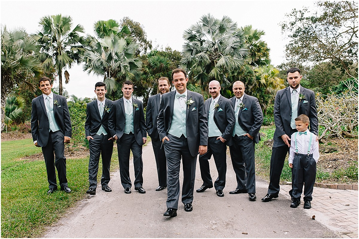 Groom and groomsmen at Flamingo Gardens wedding