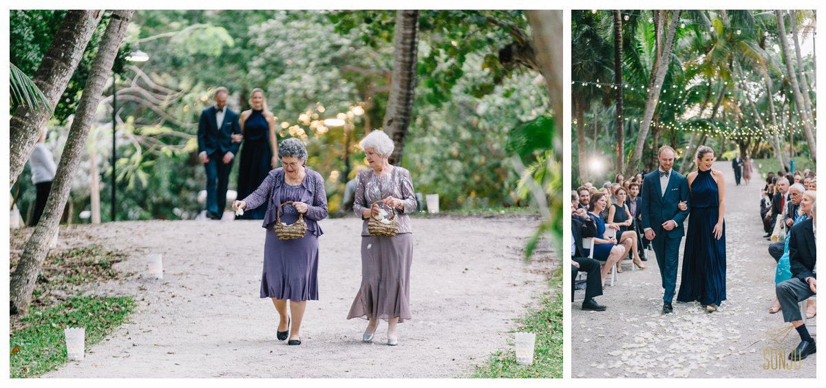 Grandmothers as flower girls at the Bonnet House Fort Lauderdale Florida