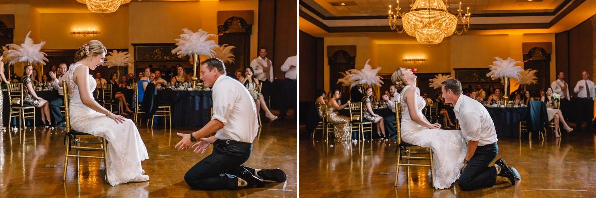 Garter toss at Signature Grand South Florida wedding