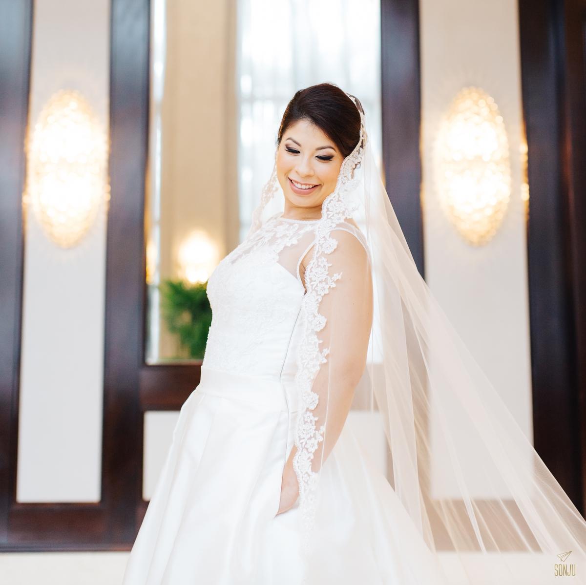 Bridal portrait in hotel lobby Plantation Florida