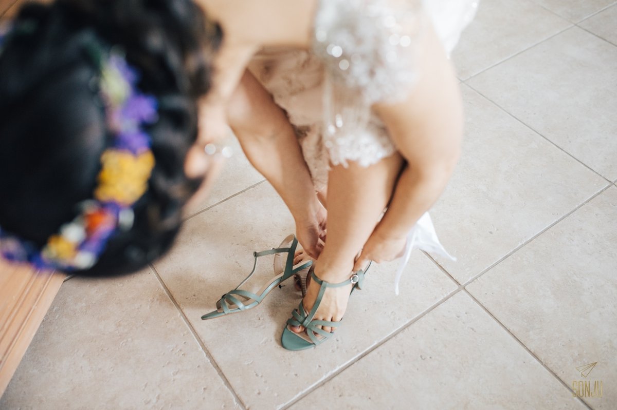 bridal shoes and flower crown