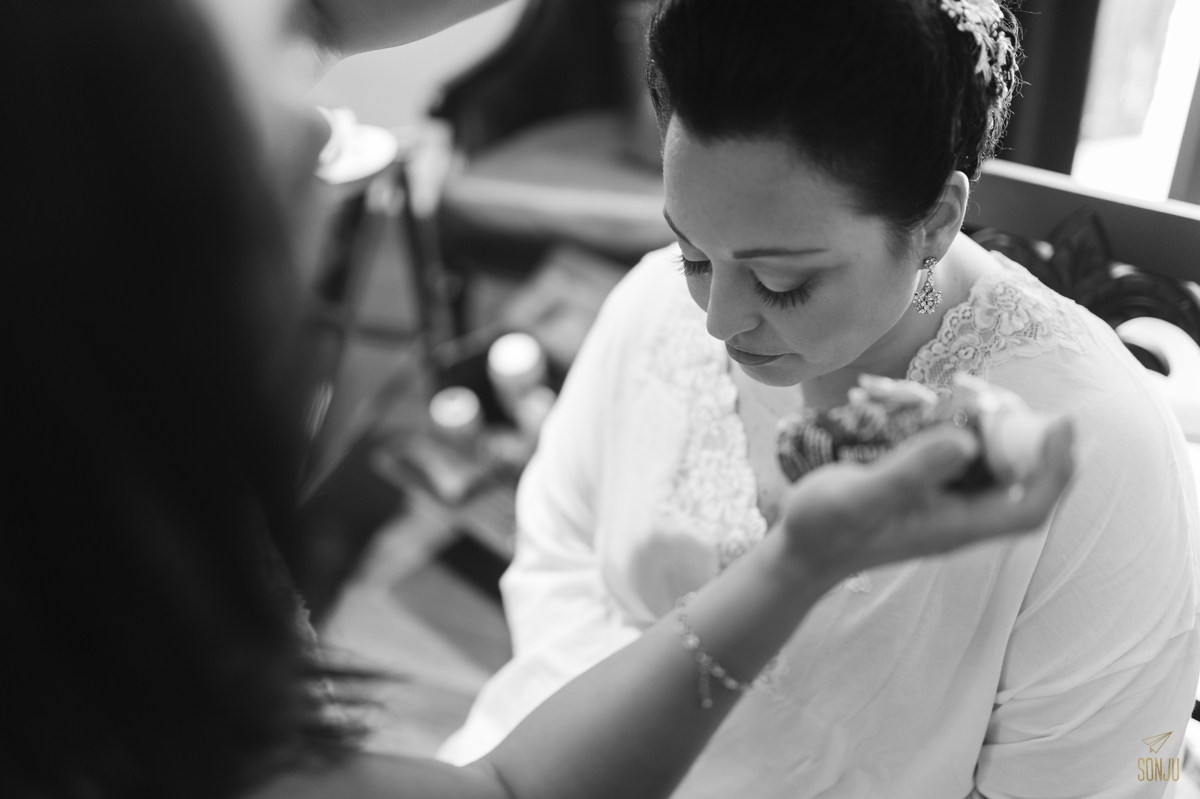 Bride gets ready on wedding day