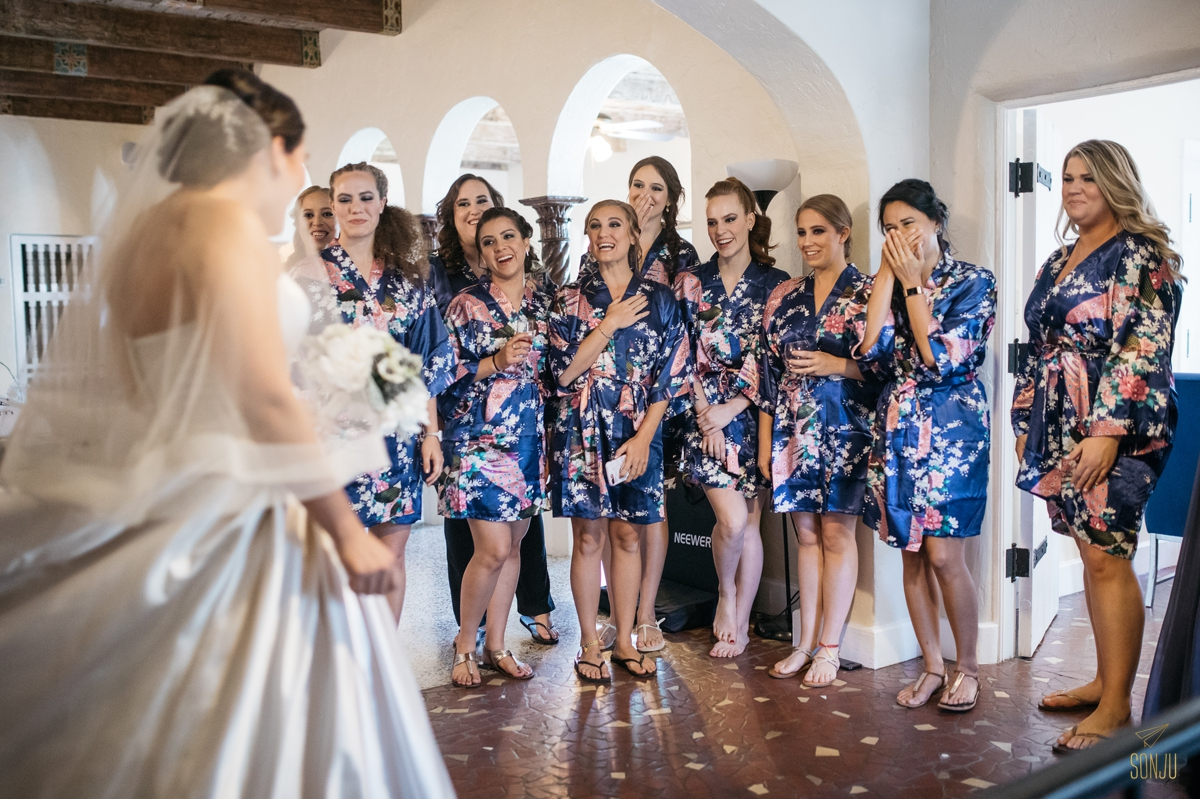 First look with bridesmaids B Social Events