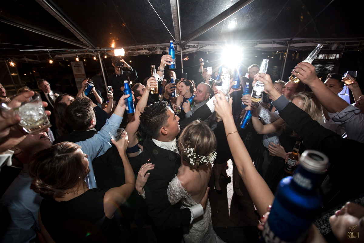 Bud light and Piano Man - guests at a wedding sing