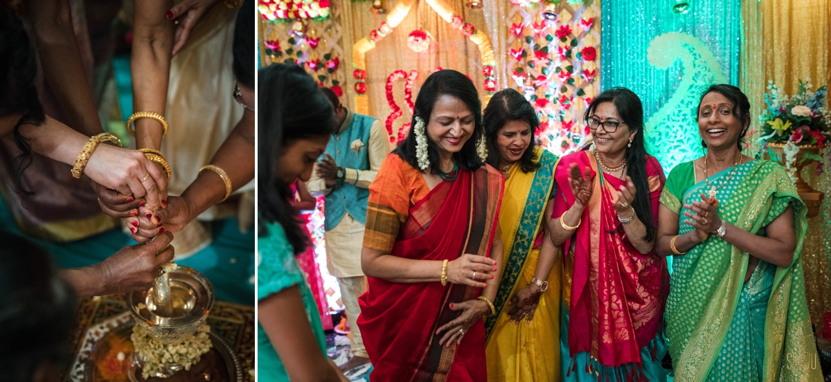 Women-sing-at-Indian-Engagement-ceremony-sarasota-florida
