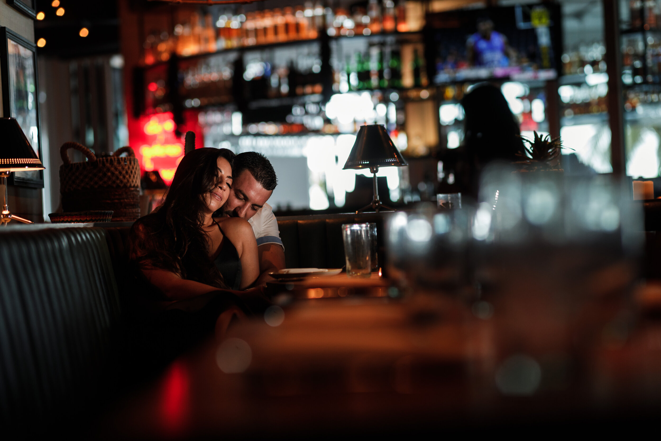 This steamy couple chose to have their engagement session at their favorite Mexican restaurant. Making out and tequila - what's better than that?