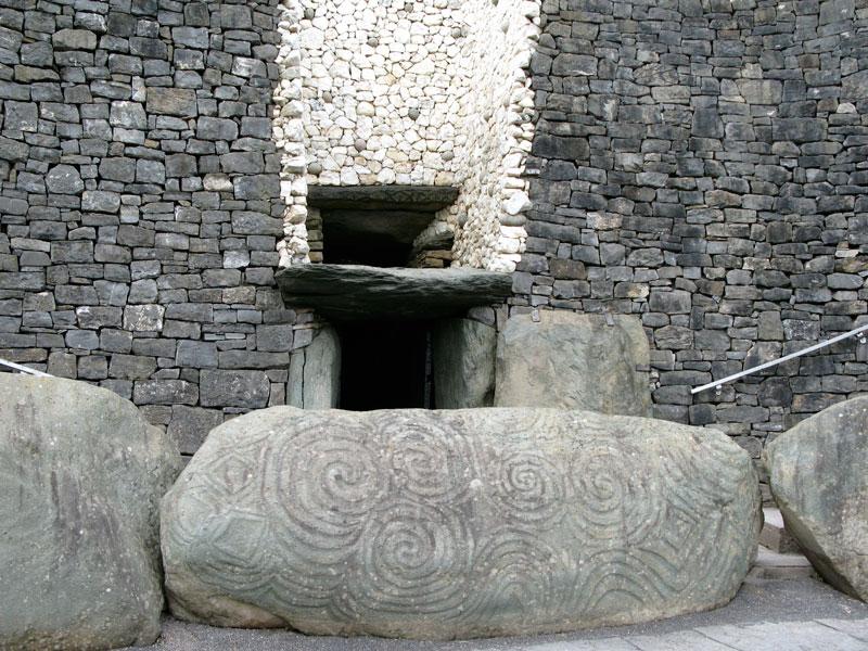 Entrance stone with megalithic art, Newgrange, Ireland.