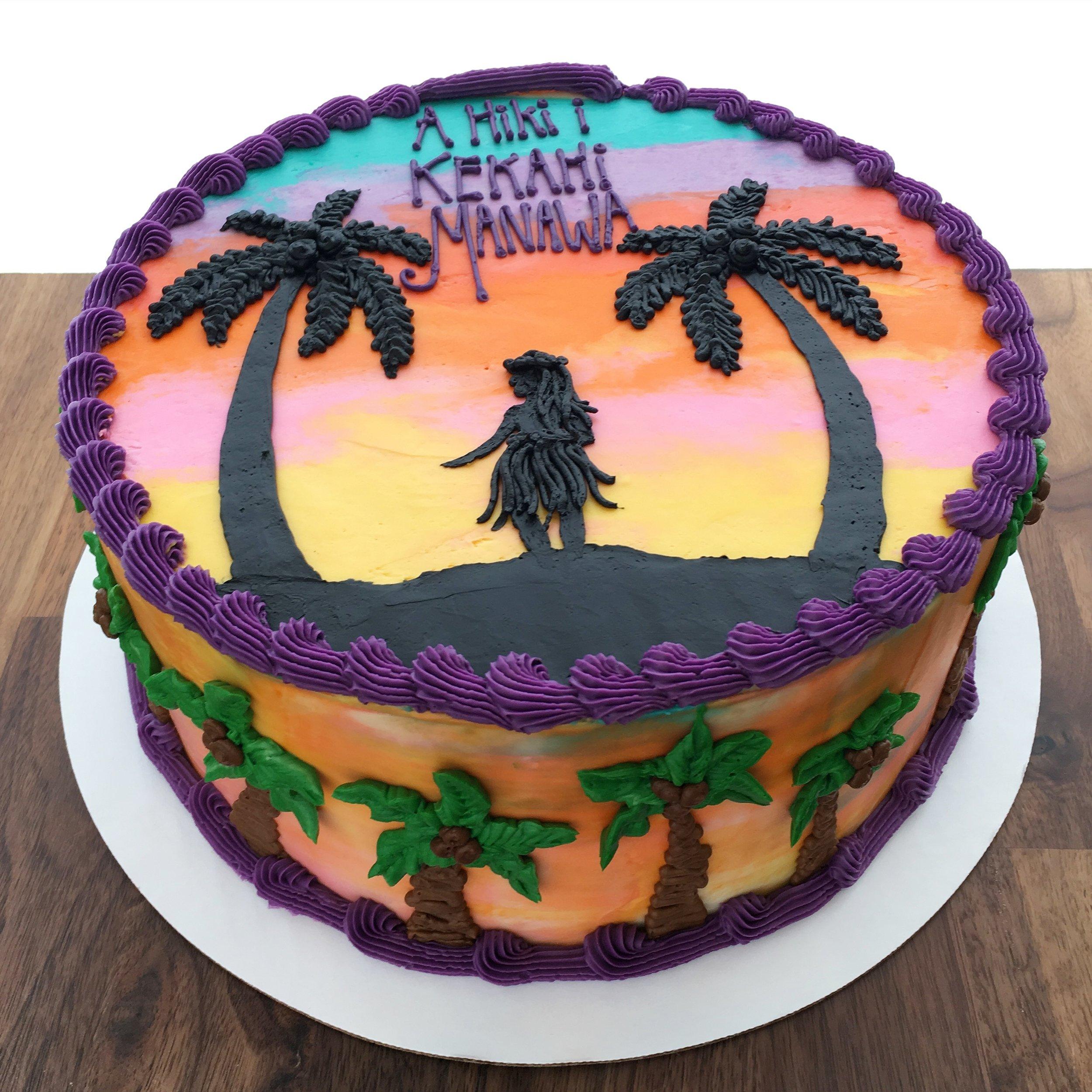 A21. Hawaiian Siloutte Buttercream Cake ($25 Deco).JPG