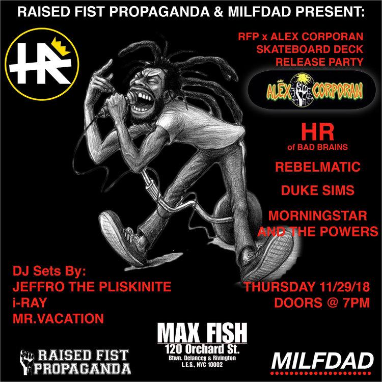 HR (Bad Brains) at Max Fish & Alex Corporan Skateboard Release