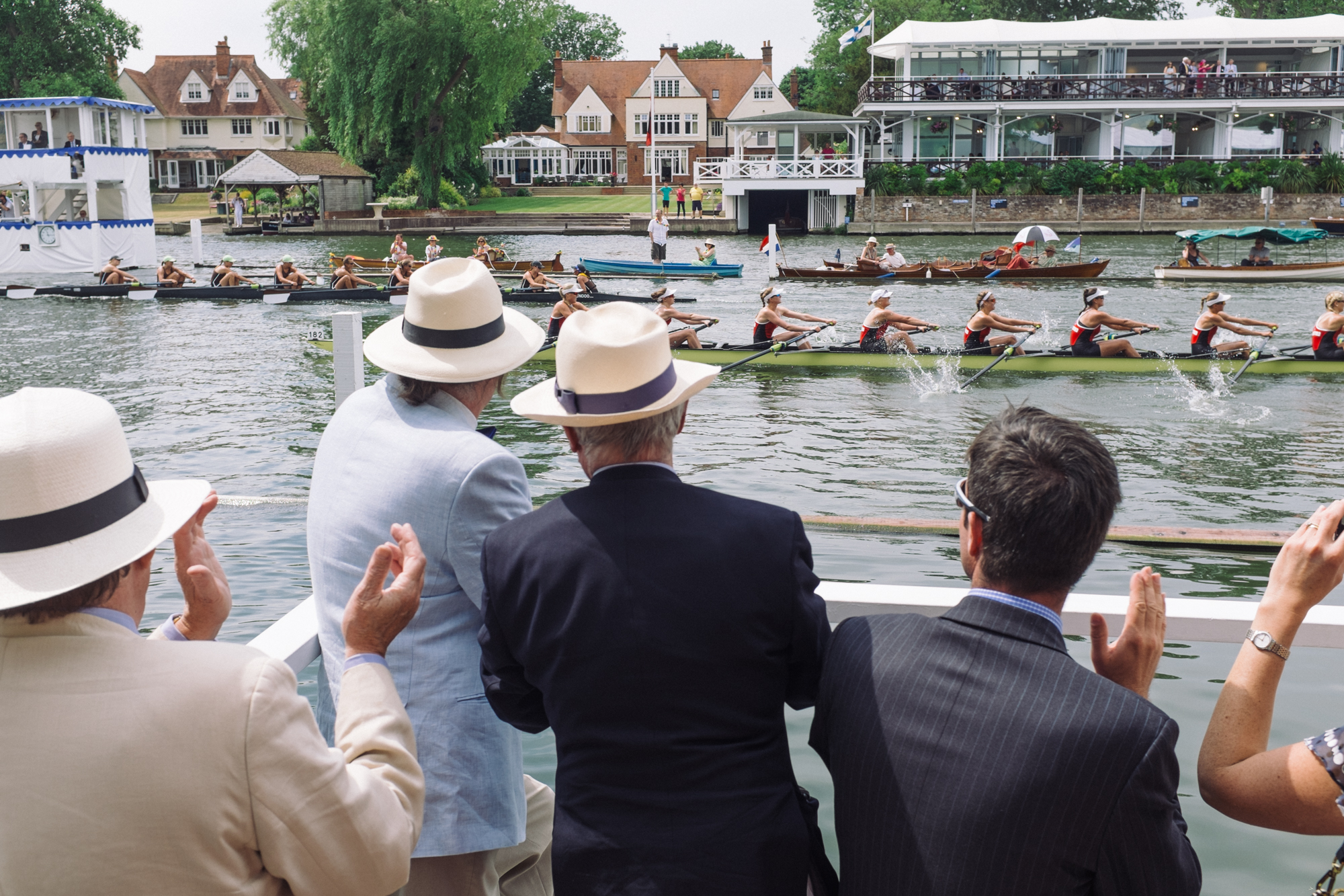 Crews race in the Remenham Challenge Cup – an event for women's eights. Woman were first allowed to compete at Henley Royal in 1993, although the number of events open to them today is still less than is available for men.