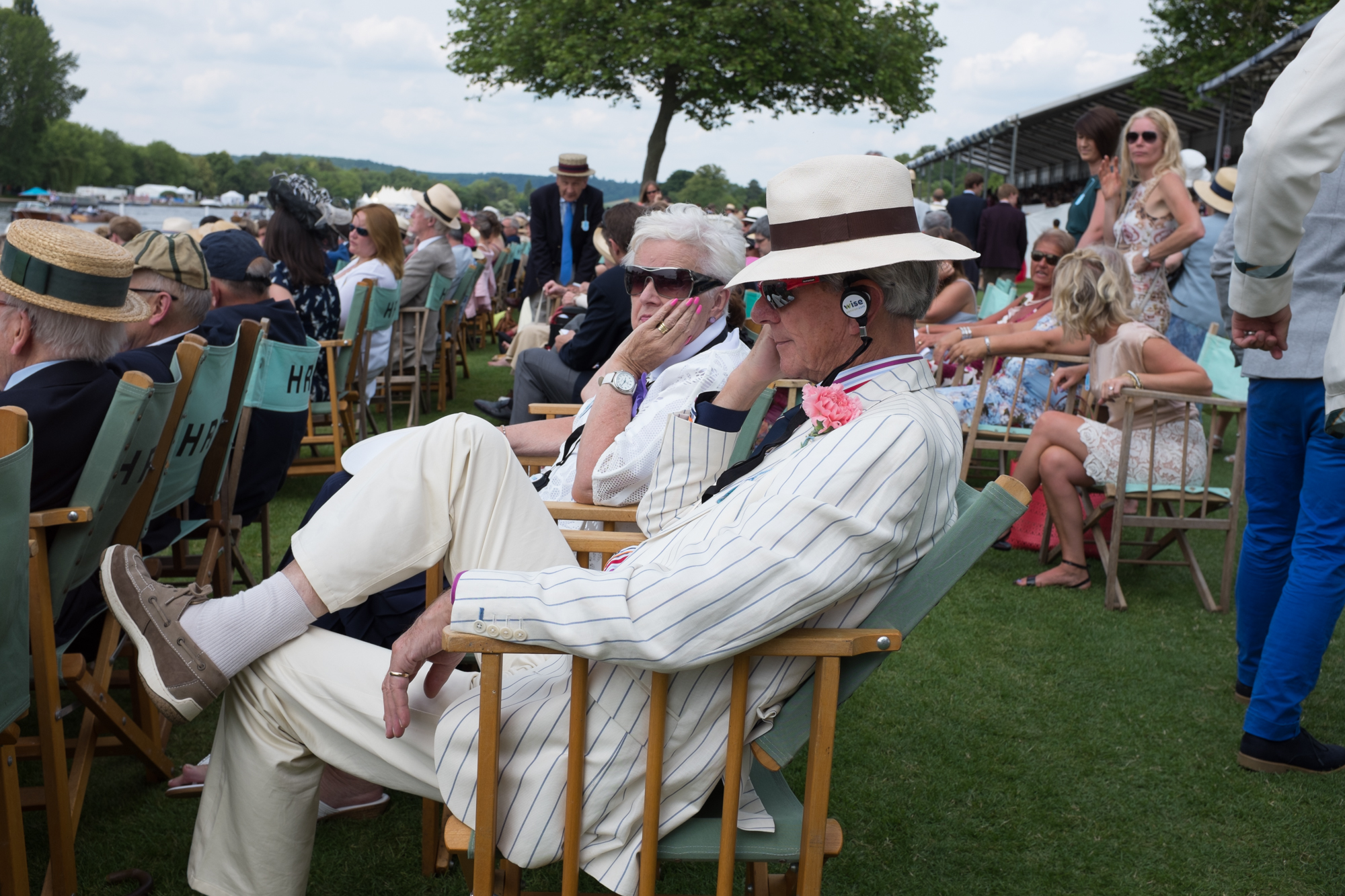 At Henley Royal Regatta, listening to Regatta Radio –a pop-up radio station that broadcasts racing commentary and interviews with athletes throughout the week.