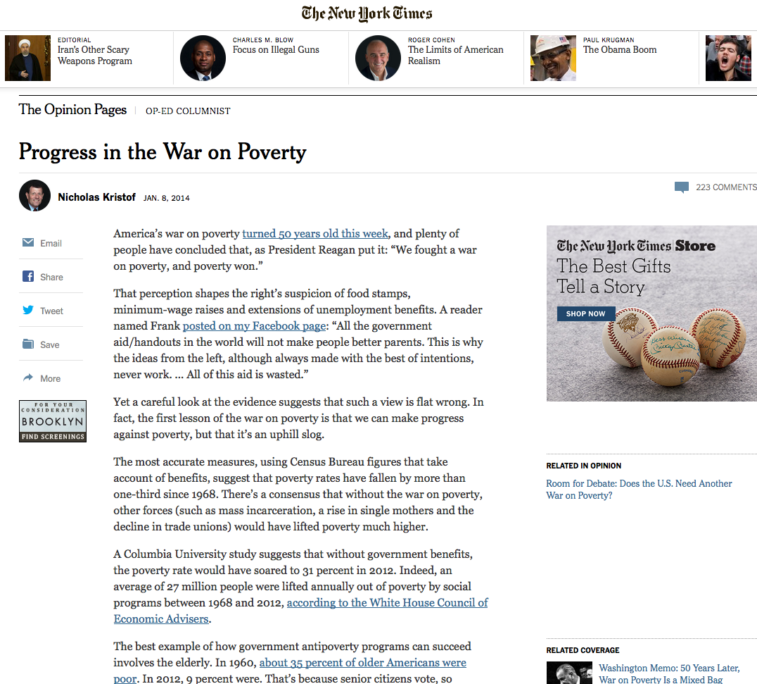 Nicholas Kristof, acclaimed New York Times columnist, puts Gibbs' work to use  for his take on the War on Poverty.