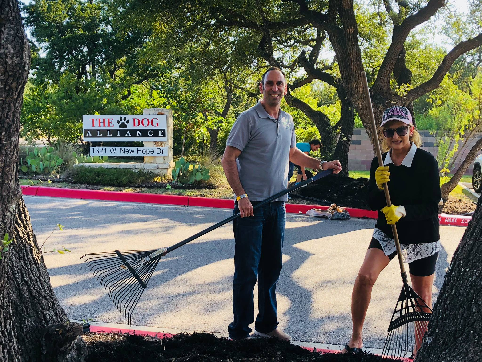 Volunteered to mulch the flower beds to create curb appeal for The Dog Alliance, a local non-profit.