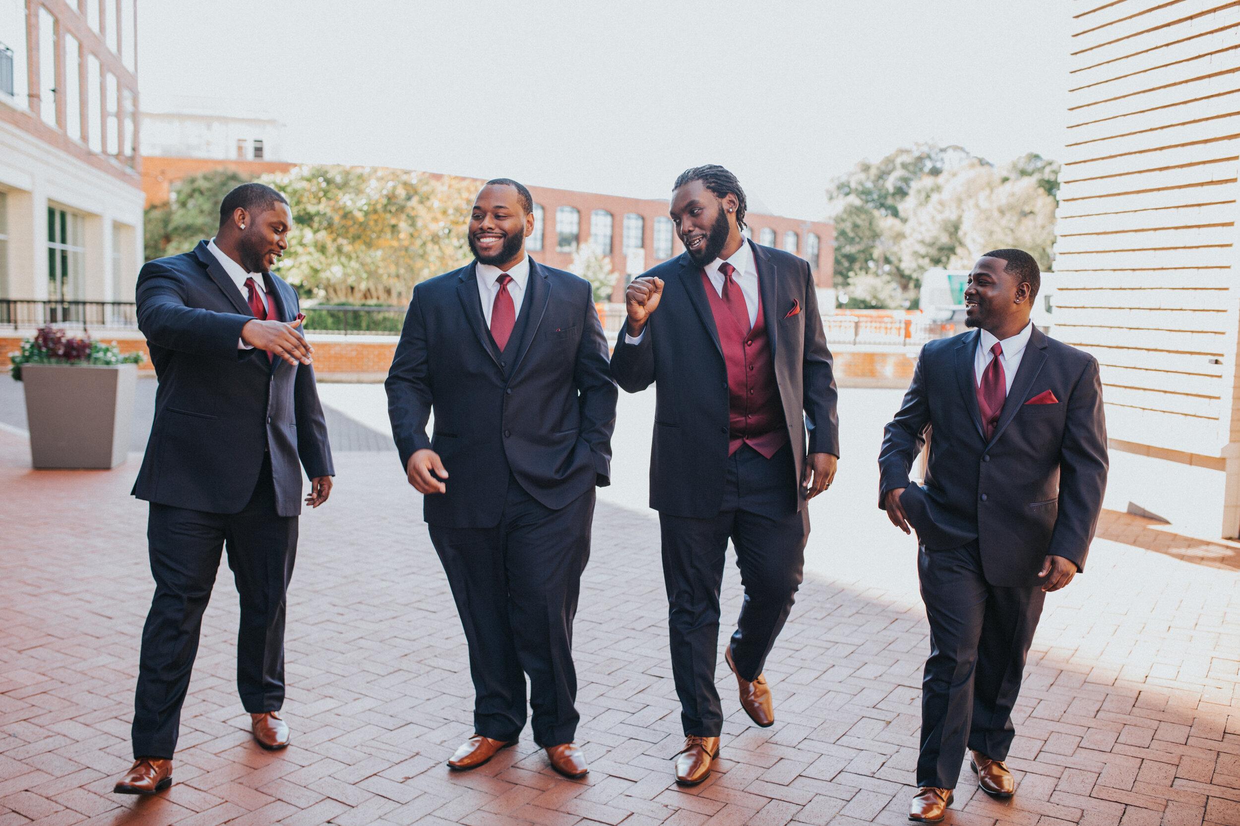 Black Groomsmen at Artisan Traders Wedding- Greenville SC