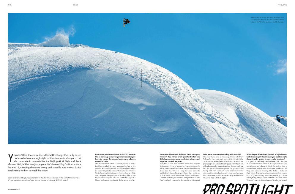 Mikkel Bang Pro Spotlight- TransWorld SNOWboarding December 2012