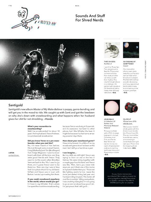 Santigold Interview- TransWorld SNOWboarding September 2012
