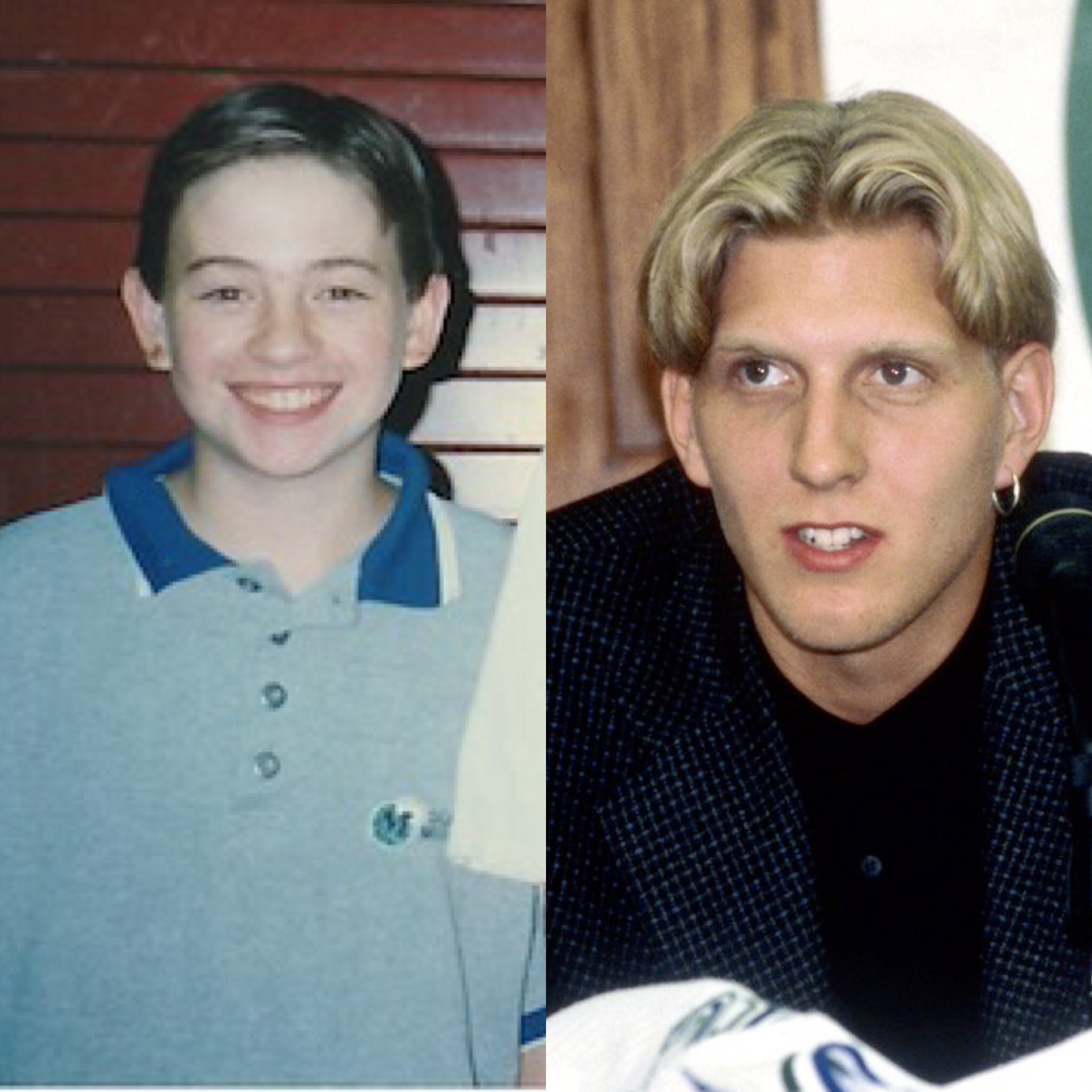 Me, at 15 (or maybe 14, it doesn't matter, the bad look has always been the same), and Dirk, at his introductory press conference.