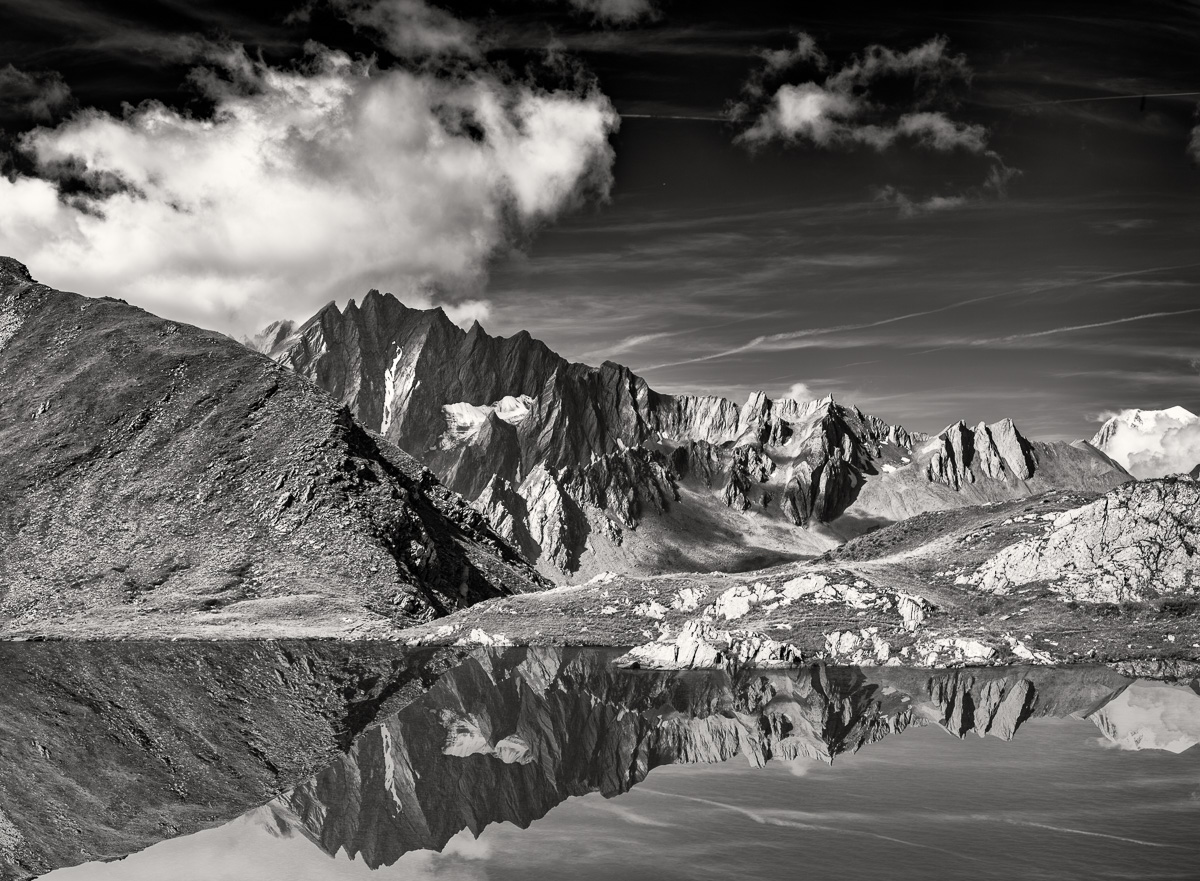 Valais Reflection, Switzerland -  Nikon D810 | Nikon 24-70mm f/2.8 | 1/50 at f/9 at 70mm ISO 64 | 3 shot panoramic handheld