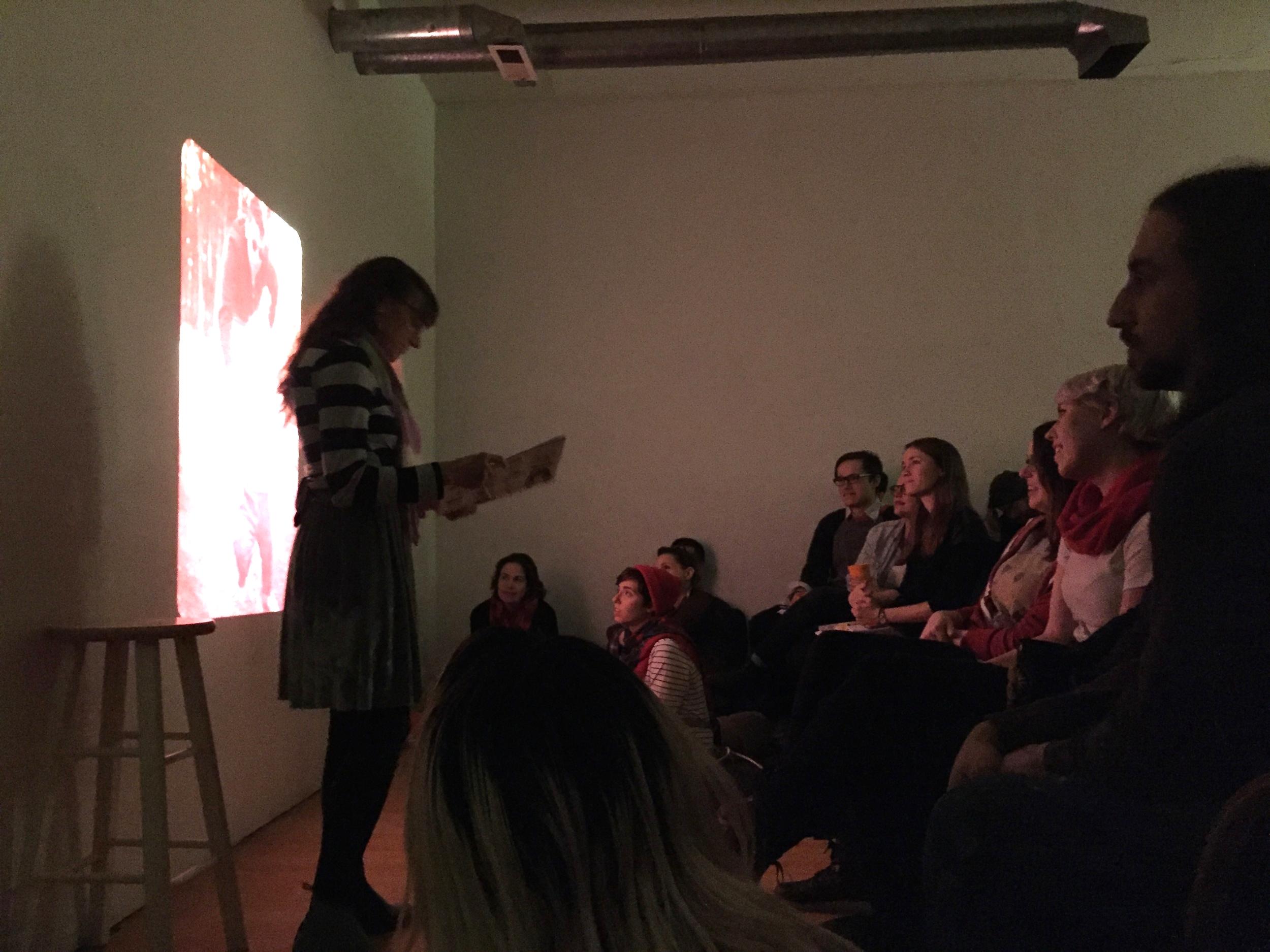 Nancy Kangas telling family secrets in the dark.